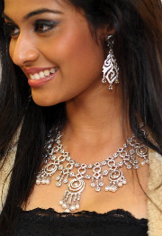 Miss India International 2010 Neha Hinge models jewelry at a diamond industry event