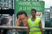 A billboard showing Venezuelan president Hugo Chavez in Caracas