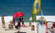 Sunbathers enjoy Ipanema Beach in Rio de Janeiro, Brazil