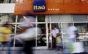 The facade of an Itau bank branch in downtown Rio de Janeiro