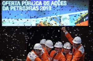 Sao Paulo's Stocks Exchange (Bovespa) CEO Edemir Pinto, Brazil's Vice President Jose Alencar, Brazil's President Luiz Inacio Lula da Silva, Brazil's Minister of Finance Guido Mantega and Petrobras state-oil company CEO Jose Sergio Gabrielli get together to start the morning trading session