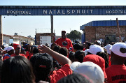 Civil servants workers protest outside the Natalspruit hospital in Johannesburg