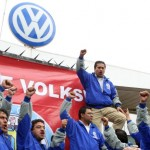 Mexican workers outside the Volkswagen plant in Puebla