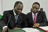 The new President of Ivory Coast and minister Dagobert Bangio discuss economic plans April 15