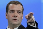 Russian president Dmitry Medvedev at a news conference May 18