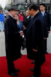 Vice-president of Popular Republic China, Xi Jinping, visits the Monument of General Artigas at Plaza Independencia as part of his official visit to Uruguay on June 8, 2011 in Montevideo, Uruguay.