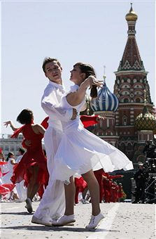 A Russian couple dances