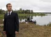 Medvedev at the crash site