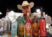 Rodolfo Favila, with the Agave de Cortes mezcal distillery, at the Expo Comida Latina trade show in San Diego California, August 2011