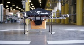 "This undated handout photo released by A...This undated handout photo released by Amazon on December 1, 2013 shows an ""octocopter"" mini-drone that would be used to fly small packages to consumers. Amazon CEO Jeff Bezos revealed on December 1 that his company was looking to the future with plans to use mini-drones to deliver small packages. AFP PHOTO / AMAZON  --- EDITORS NOTE --- RESTRICTED TO EDITORIAL USE - MANDATORY CREDIT ""AFP PHOTO / AMAZON "" - NO MARKETING NO ADVERTISING CAMPAIGNS - DISTRIBUTED AS A SERVICE TO CLIENTSAMAZON/AFP/Getty Images"