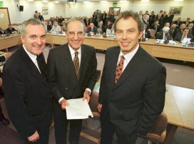 After signing the Good Friday Agreement in 1998, British prime minister Tony Blair (right), US senator George Mitchell and Irish prime minister Bertie Ahern (left)