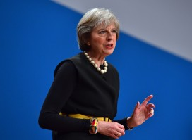 Theresa May addresses the Conservative party conference