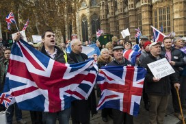 Pro-Brexiters demonstrate outside the Houses of Parliament
