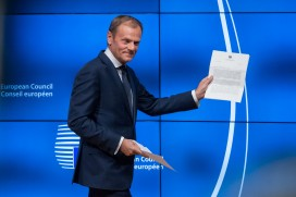 European Council president Donald Tusk receives the notification of Article 50