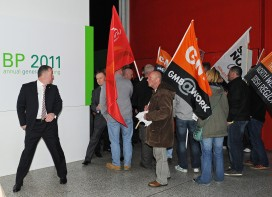 Protestors outside the BP AGM