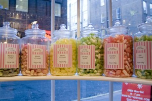 sweets in jars in a sweet shop