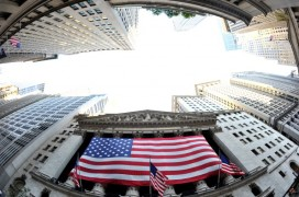 American flag over the NYSE