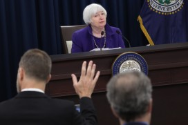 Janet Yellen in December announcing the Fed's first rate rise since 2008