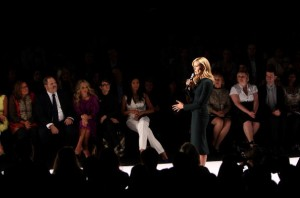 Harvey Weinstein watches Heidi Klum at the Project Runway Finalists Fashion Show in 2008