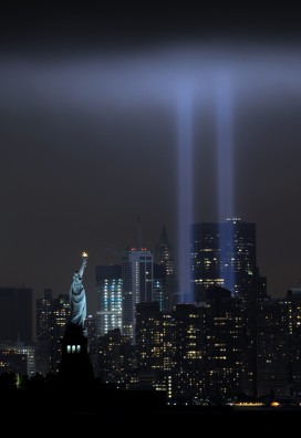 New York skyline on September 11, 2011.