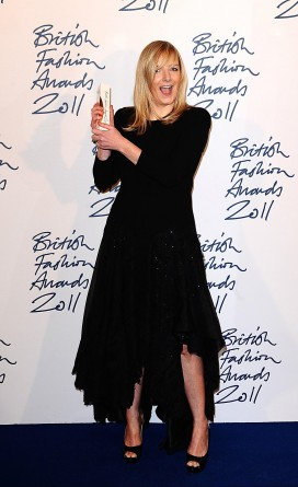 British Fashion Awards 2011 - London. Sarah Burton with the Designer of the Year award. Credit: Ian West/PA Wire