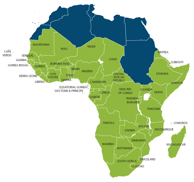 Quoteko - Sub Saharan Africa Map