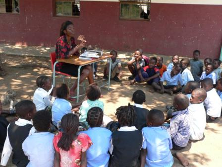 School children learning without desks