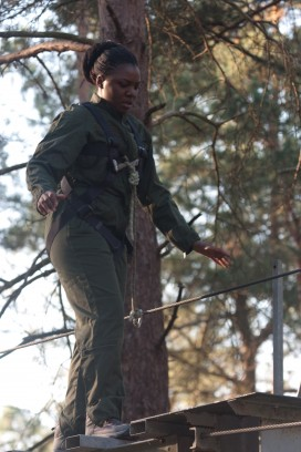 Aurélie does a balancing act during an exercise at St Cyr