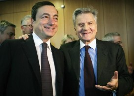 Mario Draghi with Jean-Claude Trichet. Image by Getty.