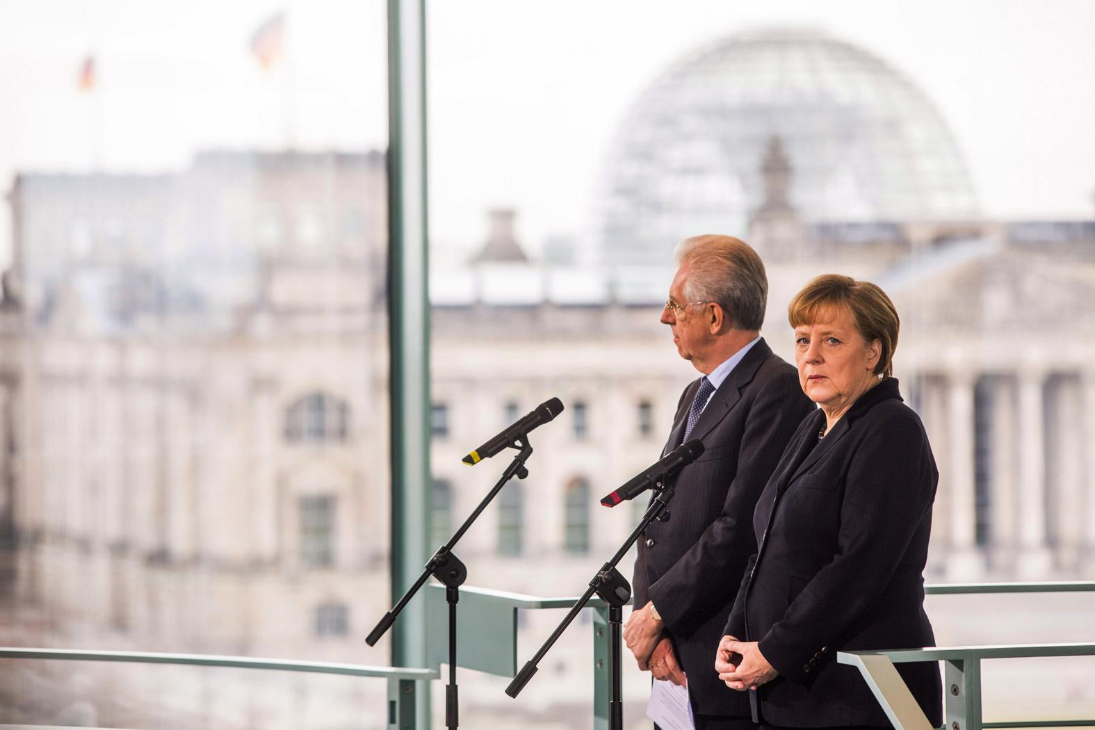 Mario Monti Meets With Angela Merkel