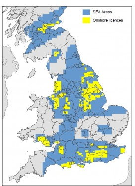 Map of SEA and licensed areas. Source: DECC