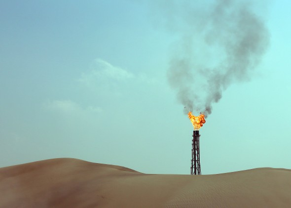Flames from a gas well 40km north of the Qatari capital Doha (KARIM SAHIB/AFP/Getty Images)