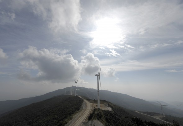A wind turbine complex on the Zhemo Mountain in the outskirts of Dali, in China's southwestern province of Yunnan (LIU JIN/AFP/Getty Images)