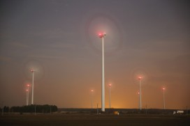 Wind turbines in Peitz, Germany.