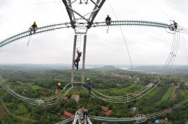Electricians Work On Transmission Tower In Chuzhou
