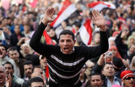 Celebrations in Tahrir Square after the ousting of Egypt's President Hosni Mubarak in February 2011