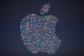 The Apple logo on display at the Worldwide Developer's Conference in San Francisco this month