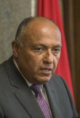 Sameh Shoukry, Egypt's foreign minister, who was visiting Israel last week