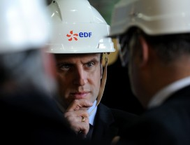 The French economy minister Emmanuel Macron visits the Civaux nuclear power plant operated by EDF, which is 85% owned by the state
