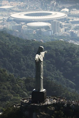 The figure of Christo Redentore above Rio's Maracana stadium, site of the Olympic opening ceremonies