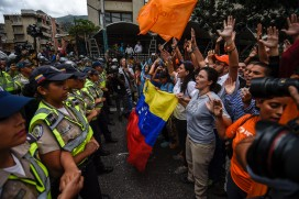 Opposition protestors in Caracas last month amid demands for a refrendum on removing President Nicolas Maduro from power
