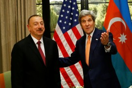 The Azerbaijani president Ilham Aliyev (left) with John Kerry, US Secretary of State, earlier this year