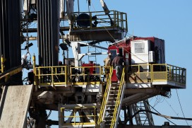 Workers on a fracking rig in the Permian Baisin, Texas