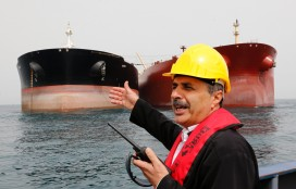 Oil tankers dock at Iran's Khark Island oil facility