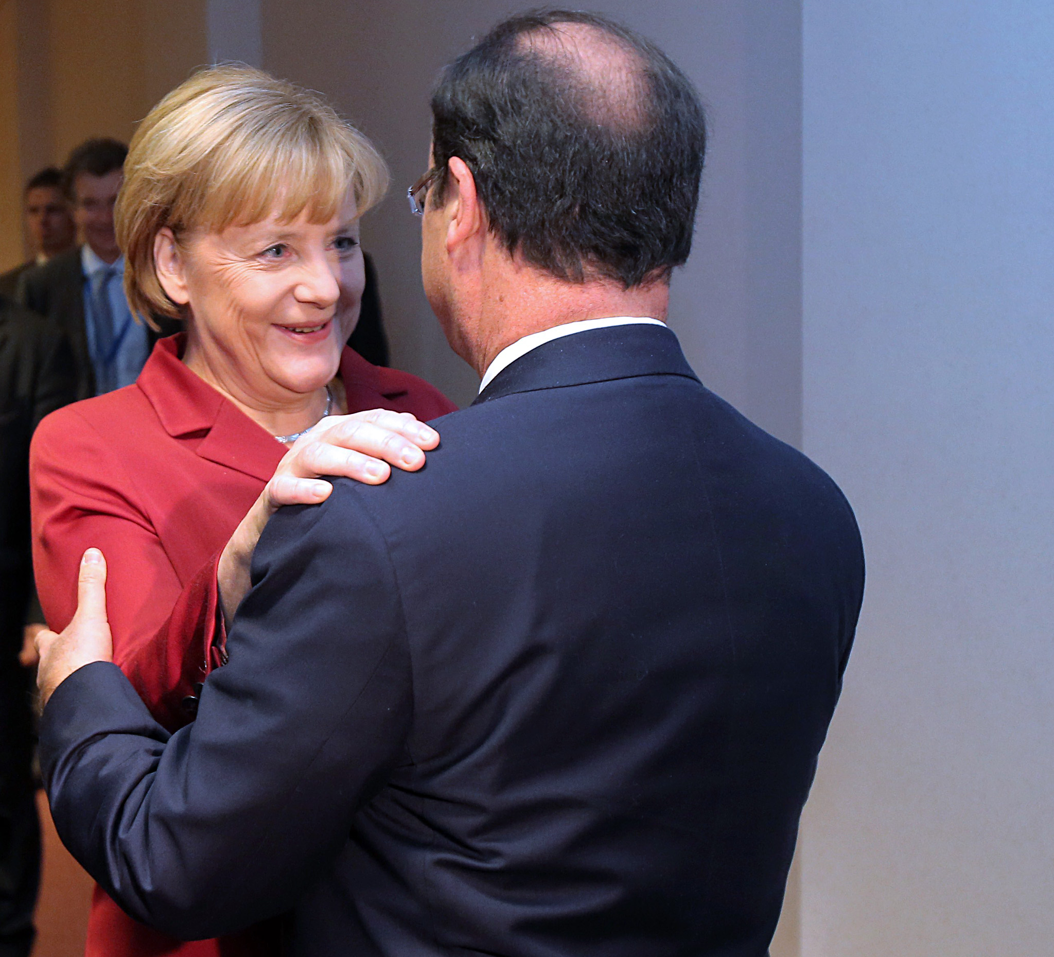 German Chancellor Angela Merkel (2ndR) i...German Chancellor Angela Merkel (2ndR) is greeted by French President Francois Hollande prior to their bilateral meeting on the sidelines of a EU summit on October 24, 2013. German Chancellor Angela Merkel, reportedly the target of US snooping on her mobile phone, said on October 24 that such conduct between friends was unacceptable.  AFP PHOTO / POOL / Michel EulerMICHEL EULER/AFP/Getty Images