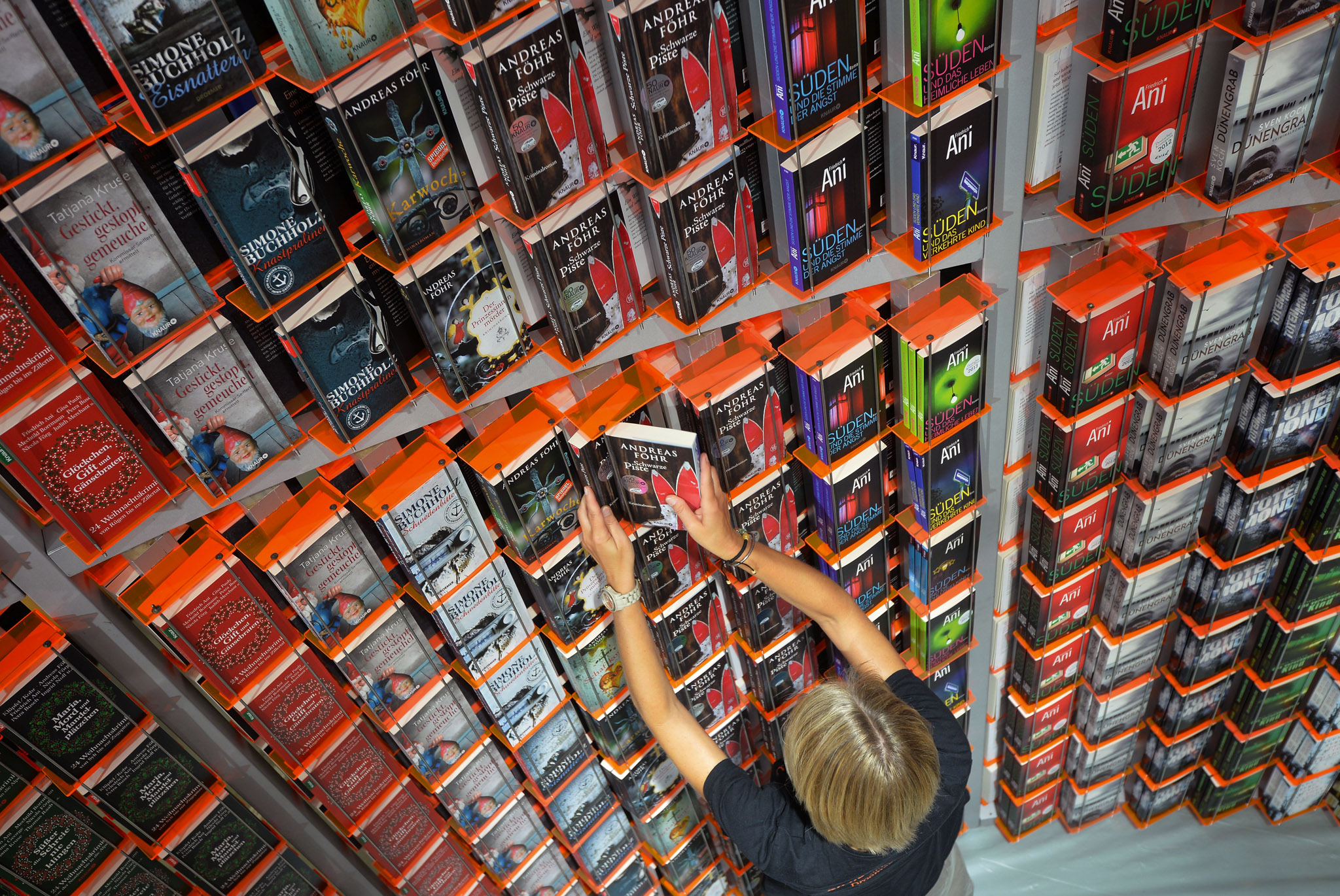 Books are arranged at the Knaur publishing house stand a day before the launch of the 2013 Frankfurt Book in Frankfurt, Germany.