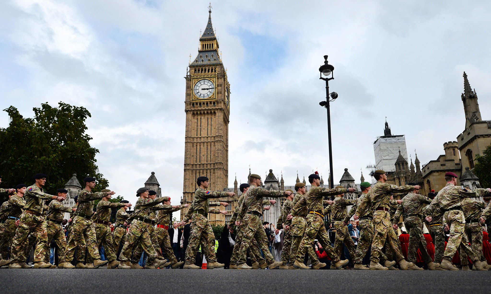 Members of 1 Mechanized Brigade march into Westminster Palace in London, Britain.The one hundred and twenty strong brigade from Tidworth who recently returned from Helmund Province in Afghanistan attended a Parliamentary reception.