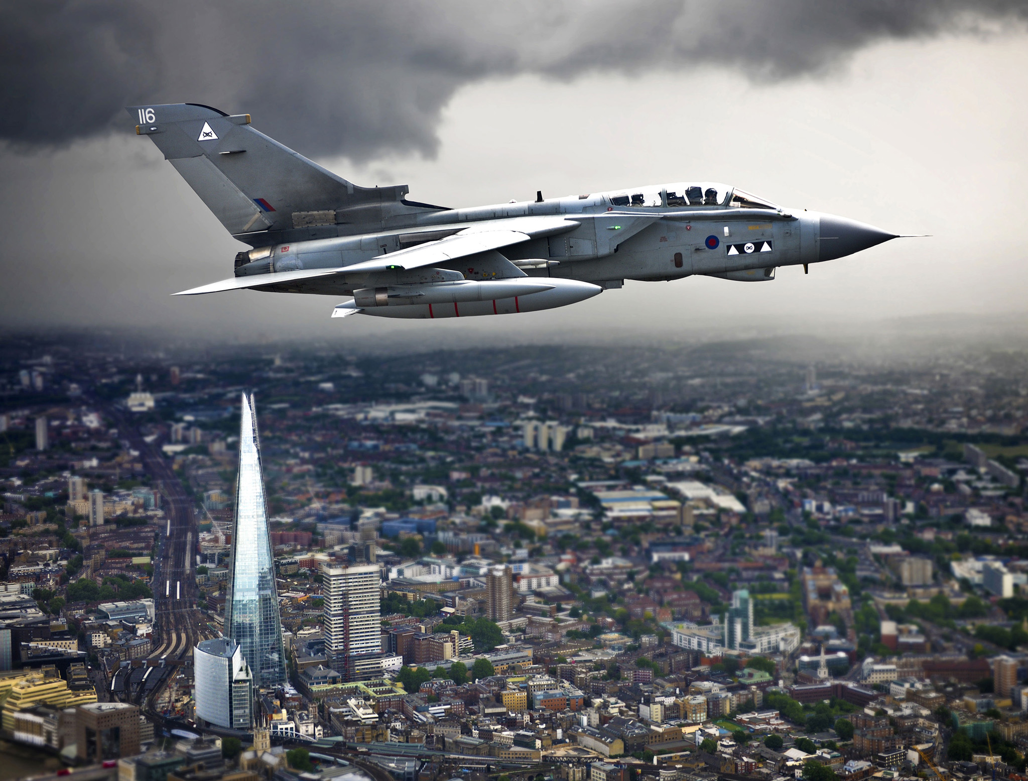 2013 Royal Air Force Photographic Competition. Winner of the RAF Public Relation Photograph of the Year 2013. 'Shard' by Andy Masson. Ministry of Defence photograph. SAC Andy Masson/PA Wire