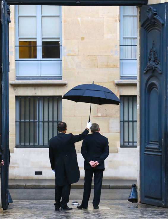 French Prime Minister Jean-Marc Ayrault ...French Prime Minister Jean-Marc Ayrault (R) waits for the arrival of his Italian counterpart prior to their meeting on October 25, 2013 at the Hotel Matignon in Paris.    AFP PHOTO / PATRICK KOVARIKPATRICK KOVARIK/AFP/Getty Images