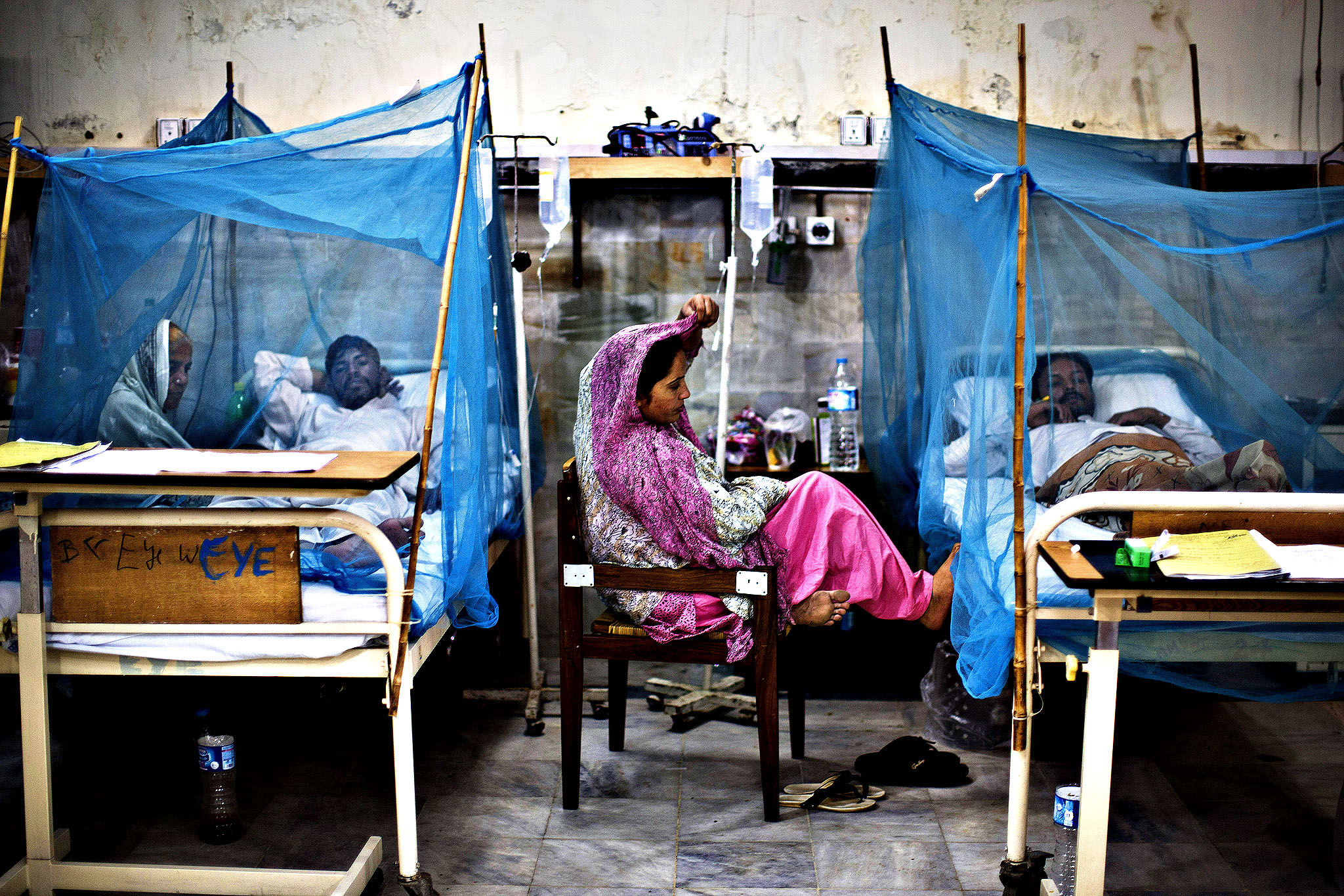 Pakistani patients, suffering from the mosquito-borne disease, dengue fever, lay in beds covered with nets at an isolation ward of a hospital in Rawalpindi, Pakistan, Thursday, Oct. 24, 2013. Dengue, a flu-like illness, is spread by the Aedes mosquito and spikes during the annual monsoons in Pakistan, when the rains leave puddles of stagnant water where the insects breed.
